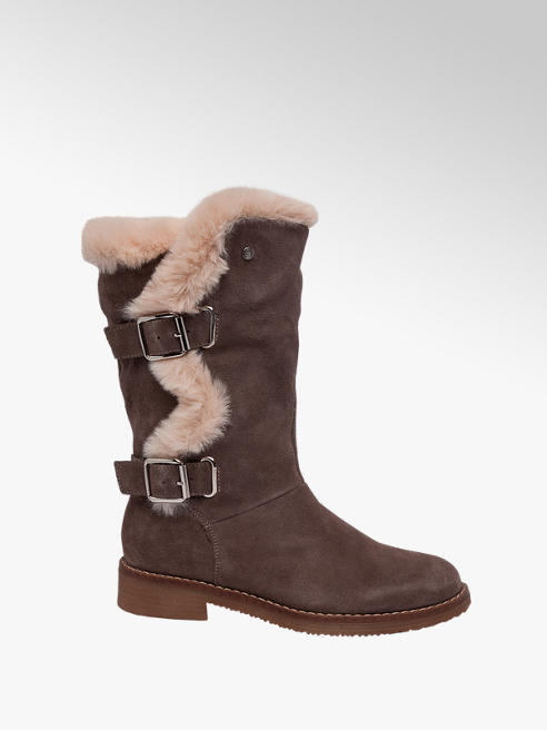 Hush Puppies Grey Suede Fur Detail Boots