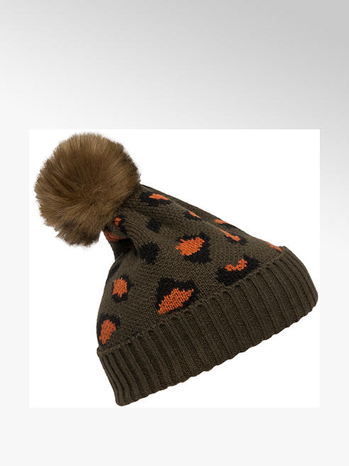 Khaki Leopard Print Bobble Hat