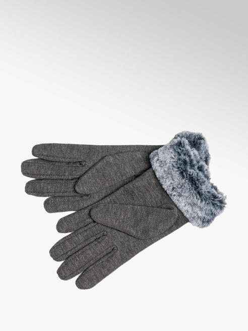 Ladies Grey Fur Cuff Gloves