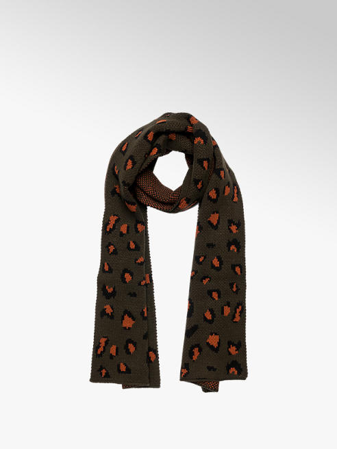 Ladies Khaki Leopard Print Scarf