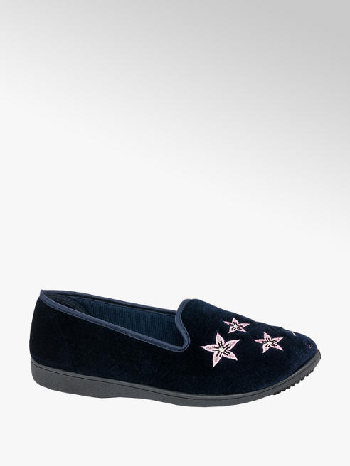 Ladies Navy Embroidered Full Slipper