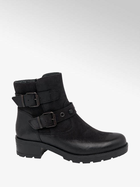 5th Avenue Black Chunky Leather Ankle Boots