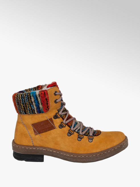 Rieker Mustard Yellow Lace Up Ankle Boots