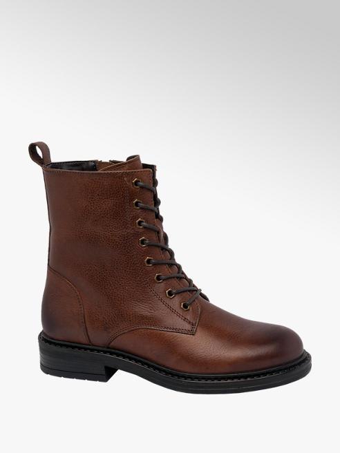 5th Avenue Cognac Leather Lace Up Boots