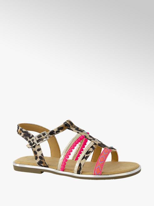 Graceland Beige sandaal panterprint