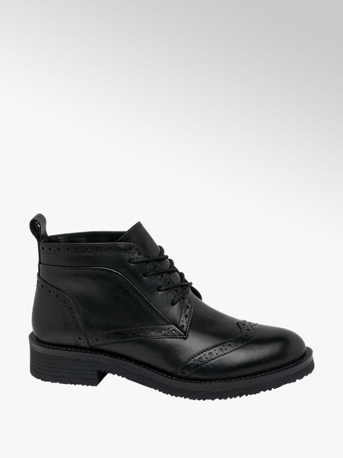 5th Avenue Black Brogue Leather Ankle Boots
