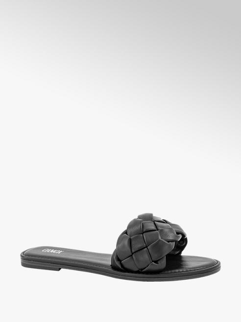 Oxmox Zwarte slipper gevlochten