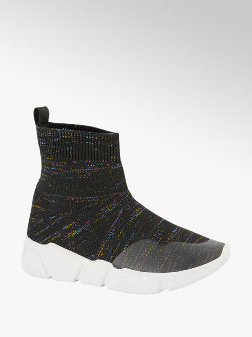 Graceland Zwarte sok sneaker glitter