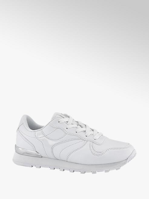 Graceland Witte sneaker zilveren en lakdetails