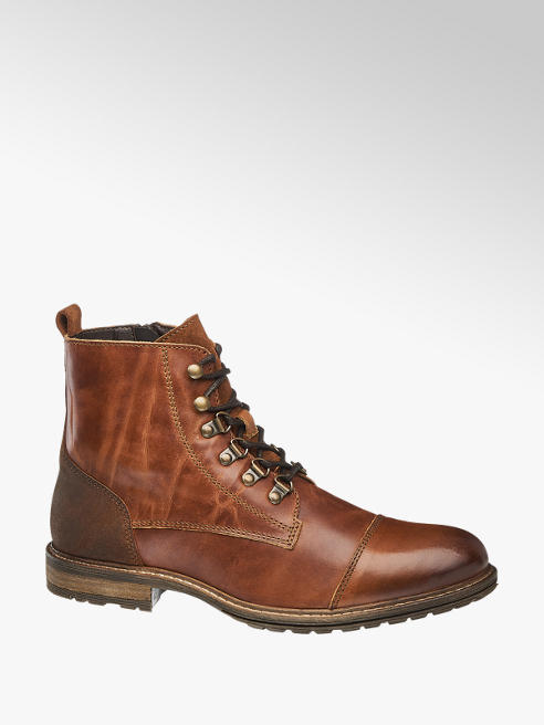 AM SHOE Mens Am Shoe Brown Formal Lace-up Boots