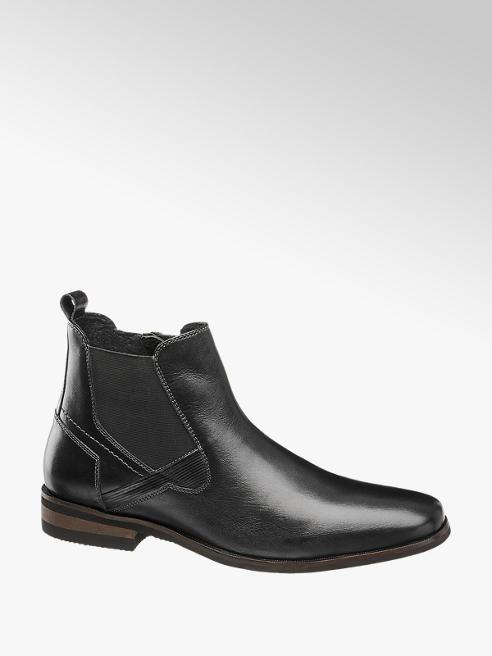 AM SHOE Mens Am Shoe Black Formal Leather Slip-on Boots