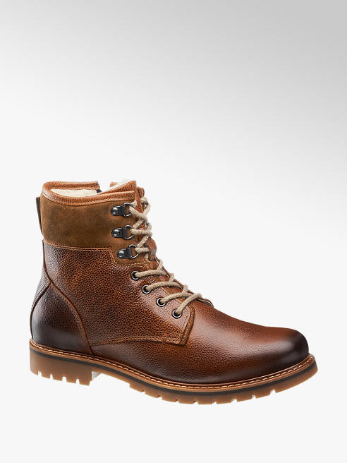 AM SHOE Mens AM Shoe Leather Brown Lace-up Boots