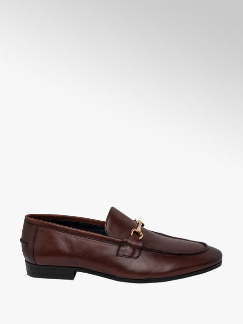 AM SHOE Mens AM Shoe Ortholite Brown Leather Loafer