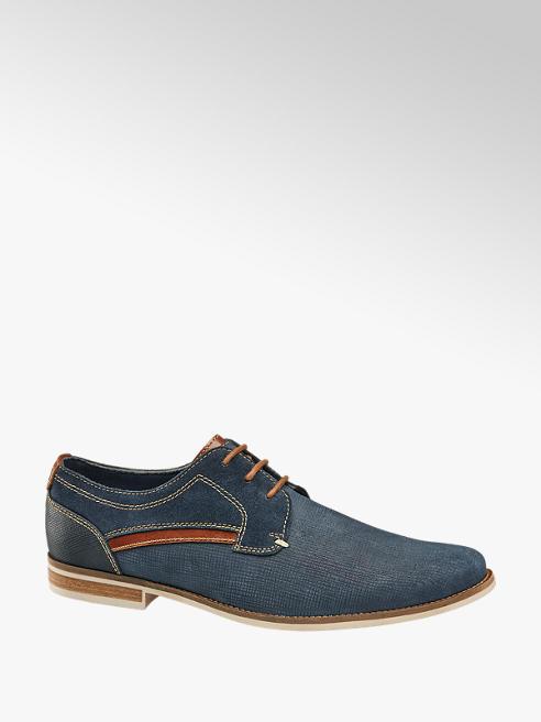AM shoe Blauwe leren geklede veterschoen