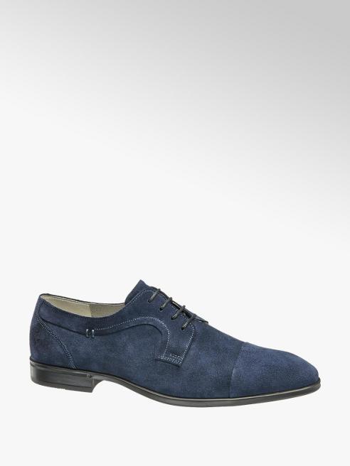 AM shoe Blauwe suède geklede veterschoen
