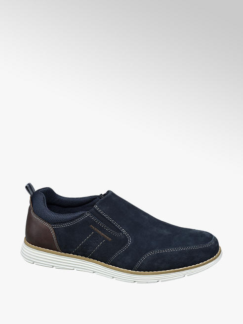 AM shoe Blauwe suède instapper