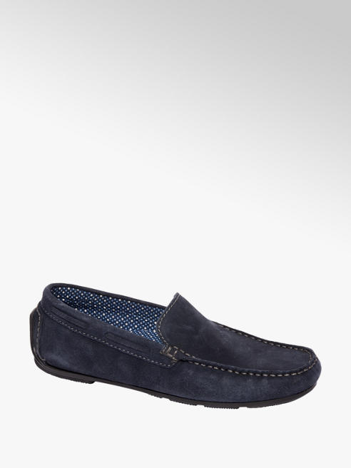 AM shoe Blauwe suède loafer