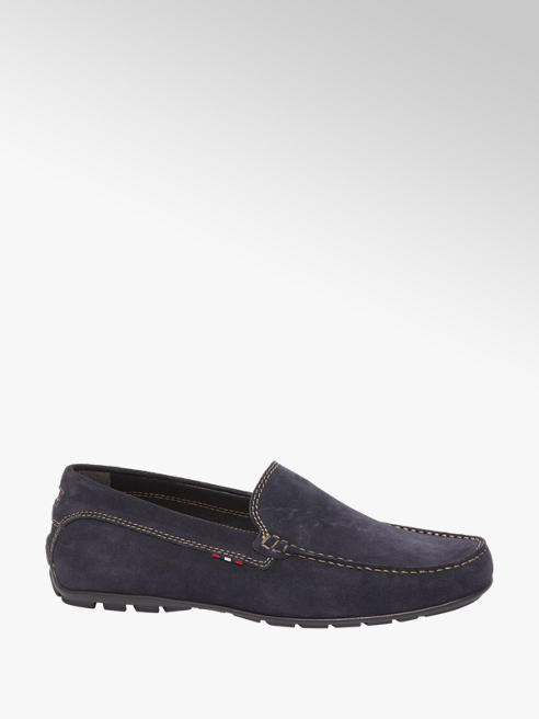 AM shoe Blauwe suède mocassin