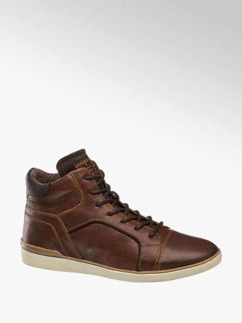 AM shoe Bruine halfhoge leren boot vetersluiting