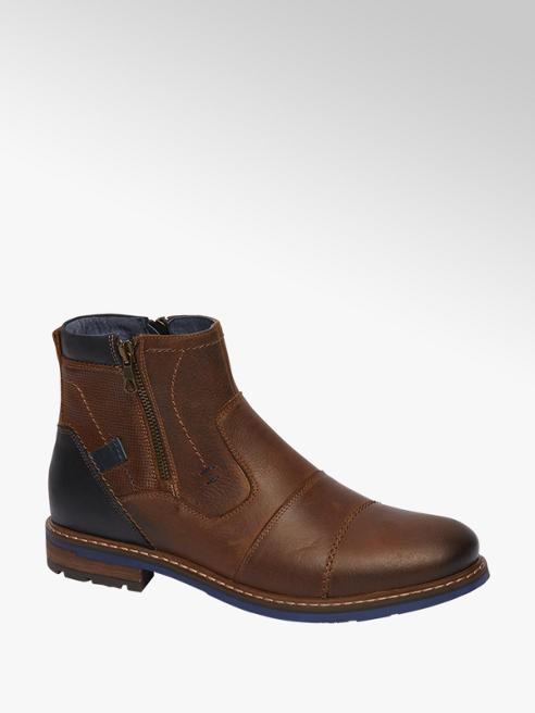 AM shoe Bruine leren boot ritssluiting