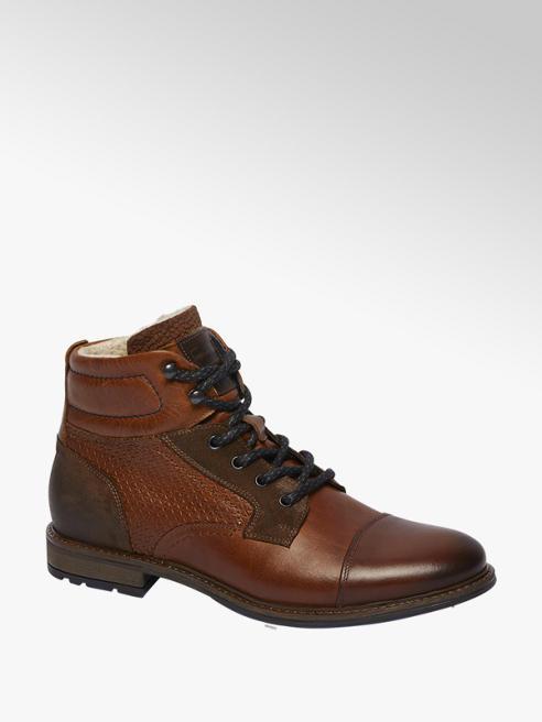 AM shoe Bruine leren boot vetersluiting