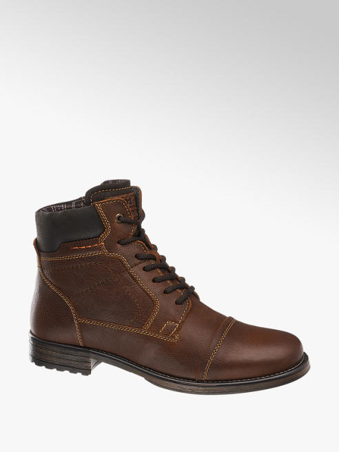 AM shoe Bruine leren hoge boot vetersluiting