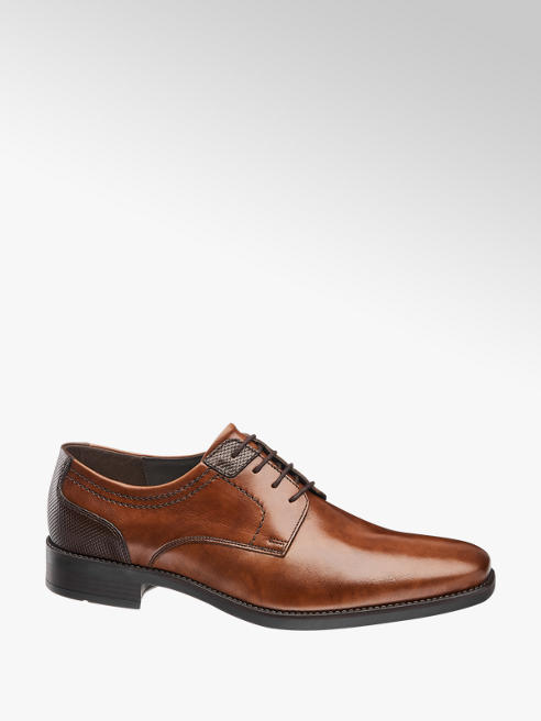 AM shoe Cognac leren geklede schoen vetersluiting