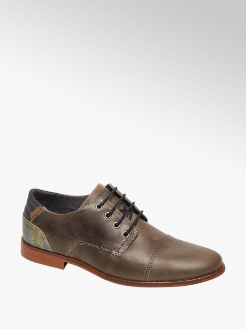 AM shoe Grijze leren geklede veterschoen