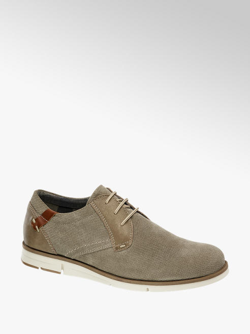 AM shoe Taupe suède veterschoen