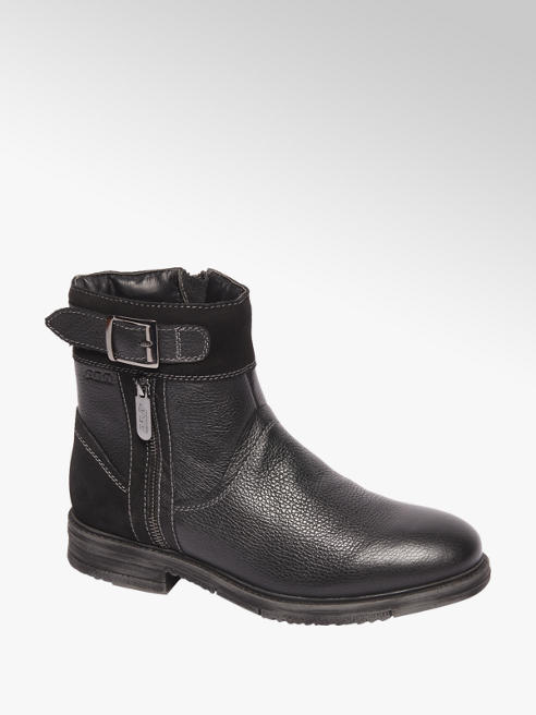 AM shoe Zwarte leren boot siergesp en rits