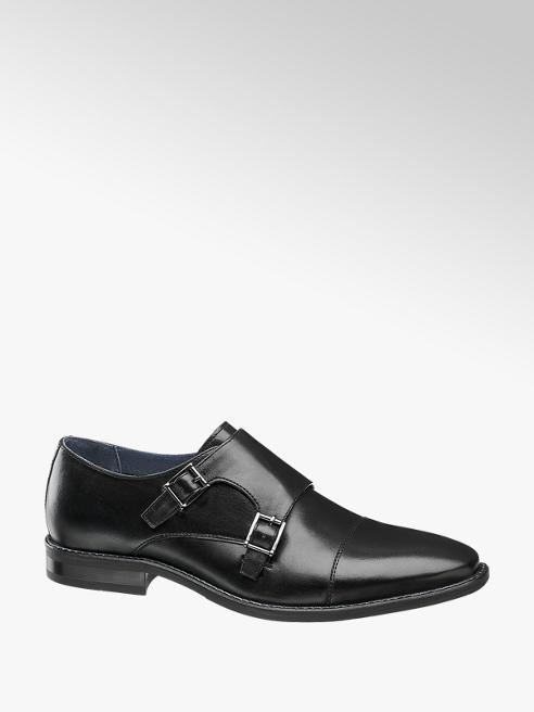 AM shoe Zwarte leren geklede schoen gespsluiting