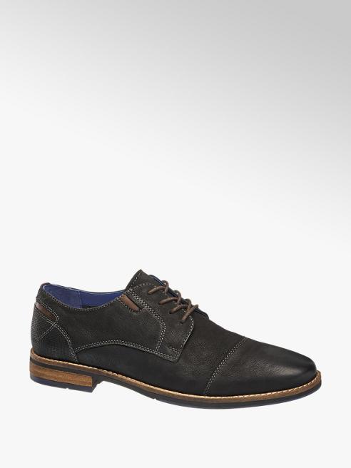 AM shoe Zwarte leren geklede schoen vetersluiting