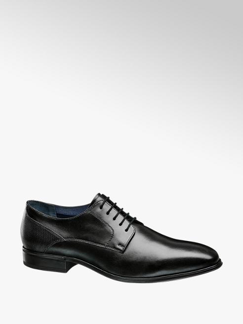 AM shoe Zwarte leren geklede veterschoenen