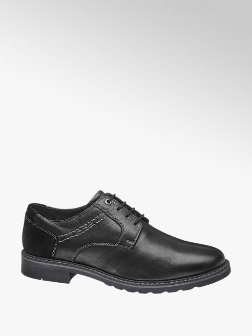 AM shoe Zwarte leren veterschoen