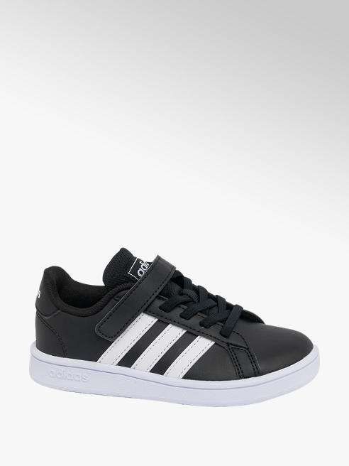 adidas Junior Adidas Grand Court Black Touch Strap Trainers