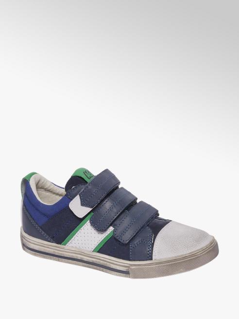 Agaxy Blauwe leren sneaker klittenband