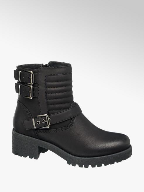 Graceland Black Chunky Heel Biker Ankle Boots