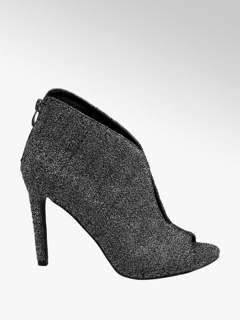 Catwalk Ankle boot spuntato in tessuto argentato