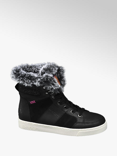 Bench Black Fur Lined Lace-up High Top Trainers