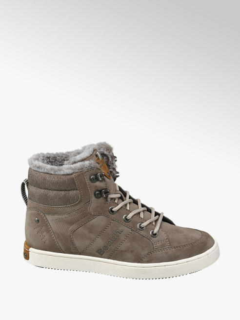 Bench Brown Fur Lined Lace-up High Top Trainers