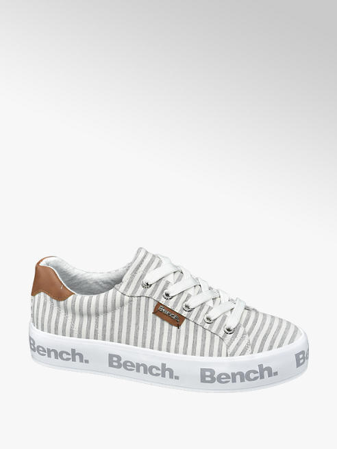 Bench Ladies Grey and White Striped Lace Up Trainers