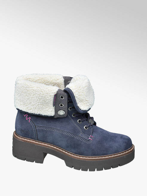 Bench Blue Faux Fur Collar Ankle Boots