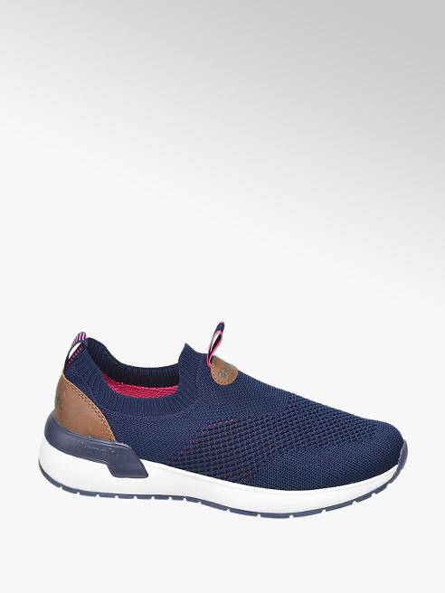 Bench Navy Blue Knitted Slip On Bench Trainers