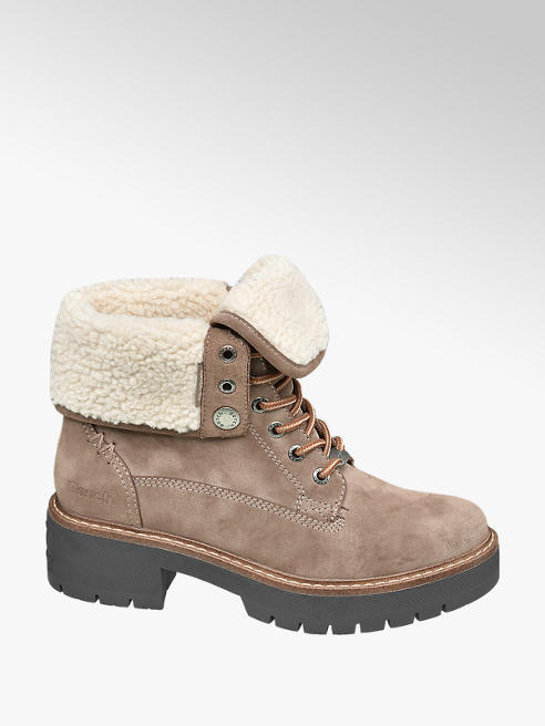 Bench Taupe Lace Up Ankle Boots