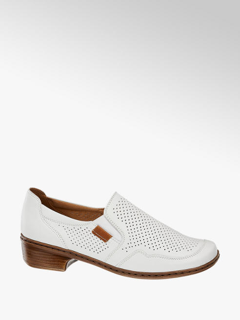 Medicus Biele kožená komfortná slip-on obuv Medicus