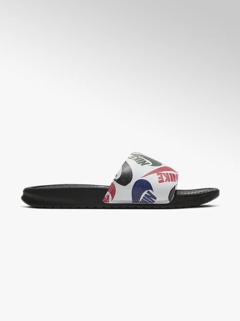 NIKE Biele plážové šľapky Nike Benassi Print & Swoosh