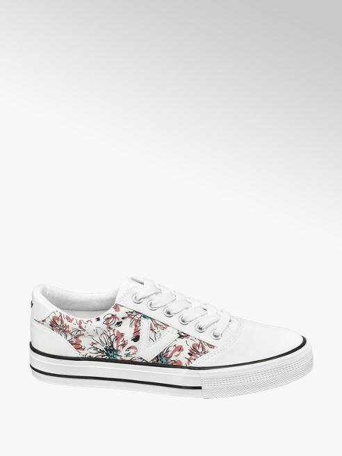 Vty Biele plátenné tenisky Vty s kvetinovým vzorom