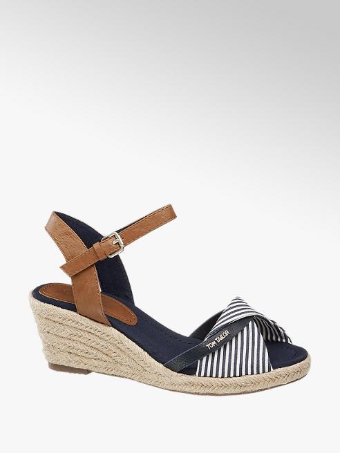 Tom Tailor Bielo-modré sandále na klinovom podpätku Tom Tailor