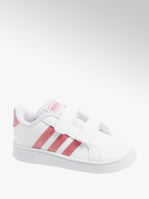 adidas Bílé dětské tenisky na suchý zip Adidas Grand Court I