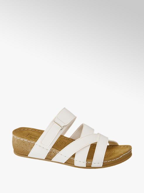 Easy Street Bílé kožené komfortní pantofle Easy Street